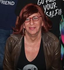 June 2019 (Patrice Bailey) Tags: cd crossdress crossdresser crossdressing ts tv tg transvestite transexual tranny tgirl tgurl gurl out bar redhead redhair leather glasses