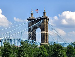 Roebling Bridge with Trees (Neil Noland) Tags: cincinnati ohio bridge roeblingbridge