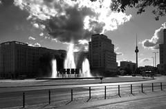 The Fountain (Renate R) Tags: berlin strausbergerplatz fountain street blackwhite karlmarxallee sky clouds