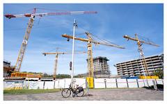 The day of the cranes (leo.roos) Tags: nl fiets hage kraan bouwplaats 16354 wijd darosa leoroos variotessartfe41635 sel1635z a7iii variotessar16354 sonycz16354 sonycarlzeissvariotessarfe1635mmf4zaoss bike bicycle yellow crane constructionsite leyenburg nieuwbouw leyweg hagaziekenhuis deschooneley haagschehof haagschekwartier
