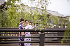 Young female friends in yukata taking selfie picture on bridge (Apricot Cafe) Tags: imgr27728 asia asianandindianethnicities japan japaneseethnicity japaneseculture kimono millennialgeneration sawarakatori bridge carefree chibaprefecture copyspace cultures day enjoyment friendship fulllength green happiness leisureactivity lifestyles outdoors people photographing photography realpeople sightseeing sky smartphone smiling standing student summer togetherness toothysmile tourism tourist traditionalclothing travel traveldestinations twopeople unescoworldheritagesite willowtree women youngadult youngwomenonly youthculture yukata