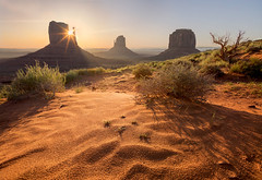 Monument Sun Rise (NickSouvall) Tags: monument valley desert sand buttes rock formation geology bush trees landscape nature arizona utah american southwest sun star flare sunrise light warm golden color wind waves foreground clear sky hazy morning day scenery