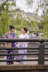 Young female friends in yukata talking on bridge (Apricot Cafe) Tags: imgr27717 asia asianandindianethnicities japan japaneseethnicity japaneseculture kimono millennialgeneration sawarakatori bridge carefree chibaprefecture copyspace cultures day facetoface friendship fulllength green happiness leaning leisureactivity lifestyles nature outdoors people photography railing realpeople sightseeing sky smiling standing student summer talking togetherness toothysmile tourism tourist traditionalclothing travel traveldestinations twopeople unescoworldheritagesite willowtree women youngadult youngwomenonly youthculture yukata