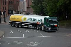 A Morrisons petrol tanker spotted in Durham (carsbusestrainsandtrucks) Tags: petrol tanker man lorry truck durham