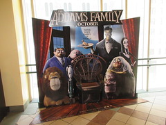 The Addams Family - Wobbly Character Animation Standee 6191 (Brechtbug) Tags: 2019 the addams family computer generated animated cartoon l r gomez uncle fester wednesday thing platter morticia lurch pugsley grand mama inspired by charles chas sure its best character design cartoonist eccentric holiday evil creature monster frankenstein like valet servant retainer manservant nanny domestic portrait nyc july new york city 12th 07212019 animation poster theater theatre