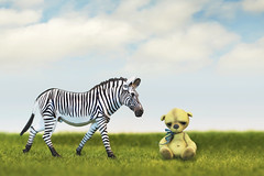 button does not like zebras (rockinmonique) Tags: button teddybear tiny bear toy zebra grass sky clouds whimsical green blue yellow moniquewphotography canon canont6s tamron tamron45mm copyright2019moniquewphotography