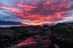 Red night (joningic) Tags: red svalbarðseyri svalbarðsströnd nature northiceland iceland sky sun sunset night kaldbakur mountains mountain reflection july 2019