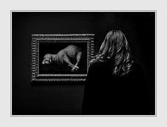 Life Imitates Art (Christina's World : On & Off) Tags: museum art painting masterpiece woman hair blondehair curls fur animal lamb blackbackground blackandwhite monochrome black white bw portrait person candid street realpeople