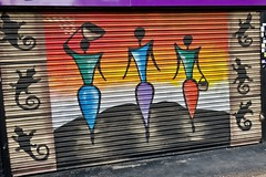 3 Women, London, UK (Robby Virus) Tags: london england unitedkingdom uk britain greatbritain gb three women street art lizards reptiles mural metal door pulldown