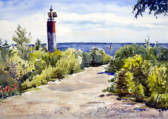 Small Light House, Bluffers Park, Plein Air, 2019-07-21 (light and shadow by pen) Tags: watercolor landscape blufferspark art toronto