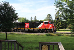 A Good Morning (view2share) Tags: cn3883 cn canadiannational cn517 517 l517 cnl517 minneapolissub stcroixcounty westernwisconsin westbound midwest northwesternwisconsin ge generalelectric gevo transportation track tracks transport trains trackage trees train freightcar freighttrain freight freightcars newrichmond wisconsin wi summer sun morning deansauvola july212019 july2019 july 2019 100thanniversary commemorative