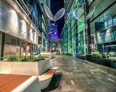 Post Office Lane, George Street, Brisbane. (Lance CASTLE) Tags: night outdoor outside brisbane cityhallclock lane color reflections glass architecture buildings canon5dmark3 1635mmlens noflash handheld
