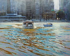 On the river (MikeC4503) Tags: ferry brisbane river acrylic art artwork michael cawdrey painting