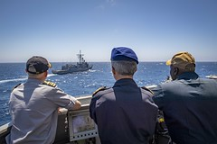 190721-N-UB406-0039 ATLANTIC OCEAN (July 21, 2019) Belgium navy Cmdr. Ralf Otto (left), Portugese navy Cmdr. Monteiro DaSilva (center), chief of staff for Standing NATO Maritime Group One, and U.S. Navy Cmdr. Corey Odom (right), guided-missile destroyer U (CNE CNA C6F) Tags: alliedmaritimecommand marcom nato snmg1 standingnatomaritimegroupone strongertogether ussgravely