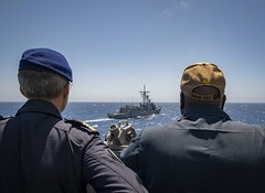 190721-N-UB406-0037 ATLANTIC OCEAN (July 21, 2019) Portugese navy Cmdr. Monteiro DaSilva (left), chief of staff for Standing NATO Maritime Group One, and U.S. Navy Cmdr. Corey Odom (right), guided-missile destroyer USS Gravely (DDG 107) executive officer, (CNE CNA C6F) Tags: alliedmaritimecommand marcom nato snmg1 standingnatomaritimegroupone strongertogether ussgravely