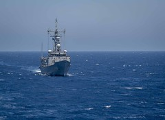 190721-N-UB406-0112 ATLANTIC OCEAN (July 21, 2019) The Turkish frigate TCG Gokova (F496) transits the Atlantic Ocean as seen from aboard the guided-missile destroyer USS Gravely (DDG 107). Gravely is underway on a regularly-scheduled deployment as the fla (CNE CNA C6F) Tags: alliedmaritimecommand marcom nato snmg1 standingnatomaritimegroupone strongertogether ussgravely