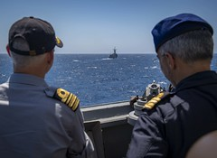 190721-N-UB406-0022 ATLANTIC OCEAN (July 21, 2019) Portugese navy Cmdr. Monteiro DaSilva (right), chief of staff for Standing NATO Maritime Group One, and Belgium Cmdr. Ralf Otto (left), observe from the bridge wing of the guided-missile destroyer USS Gra (CNE CNA C6F) Tags: alliedmaritimecommand marcom nato snmg1 standingnatomaritimegroupone strongertogether ussgravely