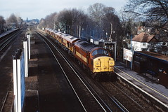 Esher, Surrey UK (keithwilde152) Tags: br class37 37057 class60s ews esher surrey uk station town platforms tracks landscape light engines diesel locomotives outdoor winter