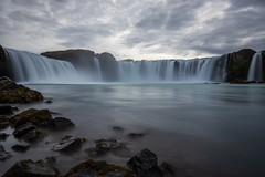 Moody Goðafoss. (Arno_vdb) Tags: iceland water waterfall fall godafoss blue nature impressive canon 80d travel blurry longexposure