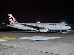 Aegean Airlines SX-DGV HAJ at Night (U. Heinze) Tags: aircraft airlines airways airplane flugzeug planespotting plane olympus omd em1markii 12100mm haj hannoverlangenhagenairporthaj eddv night nightshot