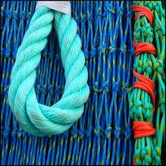 rope loop & net, Lyme Regis (Philip Watson) Tags: lymeregis dorset seaside fishingnets fishing trawler harbour thecobb rope net
