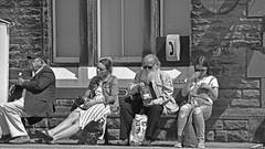 """Waiting"" (42jph) Tags: nikon d7200 uk england settle yorkshire dales railway station train people black white bw mono candid"
