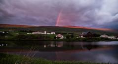 Julylight (joningic) Tags: midnightsun midnight sky svalbarðseyri svalbarðsströnd village nature northiceland night rainbow north iceland reflection