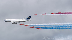 BA 100 Flypast with the Red Arrows at RIAT 2019 (Adrian Williams P H O T O G R A P H Y) Tags: ba 100 100th anniversary british airways boeing 747 retro boac red arrows raf royal international air tattoo riat 2019 19 flypast display fairford gbygc
