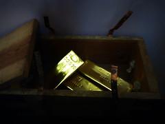 In Go the Ingots (Steve Taylor (Photography)) Tags: ingot boldbars box straps digitalart gold blue brown metal wood uk gb england greatbritain unitedkingdom london glow bankofengland