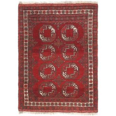 Hand Knotted Afghan Akhche Semi Antique Wool Area Rug - 3' 6 x 4' 10 (ostksite) Tags: unique loom