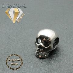 Charms tête de mort qui sourit en argent 925 (olivier_victoria) Tags: argent 925 zircon coeur charms charm charme tete tête de mort