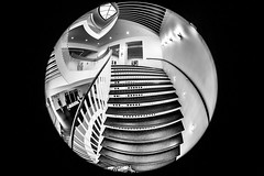 A Girl Named Disillusionment (Thomas Hawk) Tags: america chicago cookcounty illinois josefpaulkleihues kleihues mca museum museumofcontemporaryartchicago usa unitedstates unitedstatesofamerica architecture artmuseum bw staircase stairs contemporary art