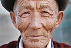 Old wrinkled Mongolian man (ercolemarchi) Tags: face man mongolia oldskin portrait traditional