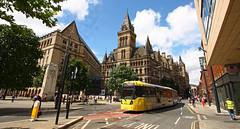 UK - Manchester tram (onewayticket) Tags: urban transport tram building architecture metrolink bombardier m5000 bombardierm5000