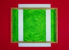 """Painted a Green Background (Acrylics) for the Assemblage """"Residuum - An Afternoon in the Garden"""" - Frame Passepartout Rahmen Hintergrund Untergrund für """"Ein Nachmittag im Garten"""": Katzenschwanz = Schachtelhalm = Farn (hedbavny) Tags: green grün acrylics schilf bambus bamboo schachtelhalm equiseta farn fern katzenschwanz horsetail zinnkraut gras grass wiese sommer summer sonne sun circle kreis lines crossings geometry zielscheibe grasgrün erbsengrün blattgrün wind garden garten allotment laube schrebergarten kleingarten frame rahmen passepartout schreibunterlage red rot weis white holz wood holzrahmen braun brown textur texture spachtel painting nature background hintergrund untergrund abstractexpressionism abstrakterexpressionismus abstract konkret abstrakt art kunst photography triptychon triptych workinprogress hedbavny wien vienna austria pattern muster schablone"""