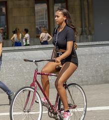 """op een oude fiets ..."" (Henk Overbeeke Atelier54) Tags: girl street candid bike bicycle bicicletta vélo fiets fahrrad shorts longhair earphone"