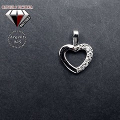 Pendentif argent coeur avec chaîne (olivier_victoria) Tags: argent 925 pendentif zircon coeur chaine brillant