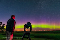 Gazing at Aurora with C8 Scope (Amazing Sky Photography) Tags: aurora celestron luminarflex observer selfie telescope