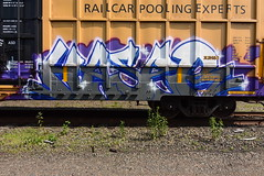 ? (TheGraffitiHunters) Tags: graffiti graff spray paint street art colorful benching benched freight train tracks boxcar
