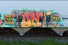 ? (TheGraffitiHunters) Tags: graffiti graff spray paint street art colorful benching benched freight train tracks hopper