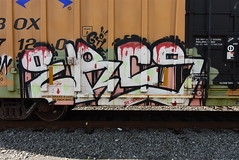 ERCS (TheGraffitiHunters) Tags: graffiti graff spray paint street art colorful benching benched freight train tracks boxcar ercs