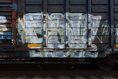 ROY (TheGraffitiHunters) Tags: graffiti graff spray paint street art colorful benching benched freight train tracks boxcar roy