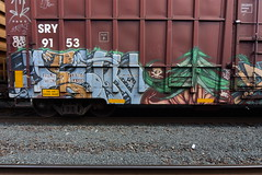 ? PLANT TREES (TheGraffitiHunters) Tags: graffiti graff spray paint street art colorful benching benched freight train tracks boxcar plant trees