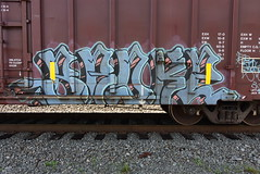 BROKE (TheGraffitiHunters) Tags: graffiti graff spray paint street art colorful benching benched freight train tracks boxcar broke