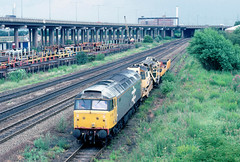 Creeping slowly up the relief......7Z14 47356 Rugby-Washwood Heath Bromford Bridge 26-06-1990 (the.chair) Tags: 7z14 47356 rugbywashwood heath bromford bridge june 1990