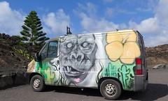 Funny truck in Il Golfo, Lanzarote (Sokleine) Tags: ilgolfo village volcanic stones pierres lanzarote canarias canary canaries island île spain espagne espana monkey singe gorille gorilla streetart truck van camionnette