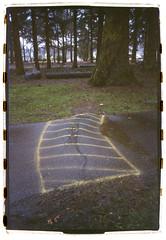 Alberta Park (Robert Drozda) Tags: portland oregon albertapark path caution film kodakgold400 sloppyborder bluemooncamera rollfilmweek summer2019 drozda
