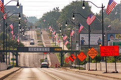 Main Street Bridge - Richmond, Indiana (WayNet.org) Tags: light pole waynet wayne county flag bridge street lamp richmond main waynetorg indiana mainstreet waynecounty lightpole streetlamp streetlight