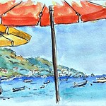 A day at the spiaggia... . . . #positano #amalficoast #watercolor #pleinairwatercolor #travelsketch #inkandwatercolor thumbnail
