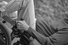 Mono Trike (42jph) Tags: street uk england bw white black person mono nikon candid tricycle yorkshire transport trike recumbent dales settle d7200